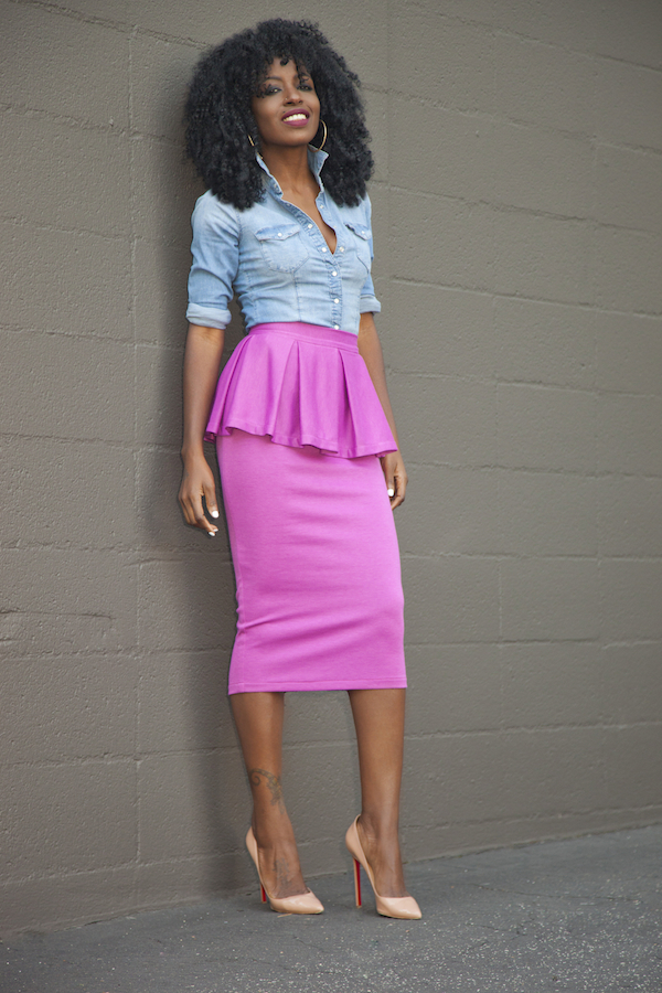 Style Pantry | Fitted Denim Shirt   Peplum Midi Skirt