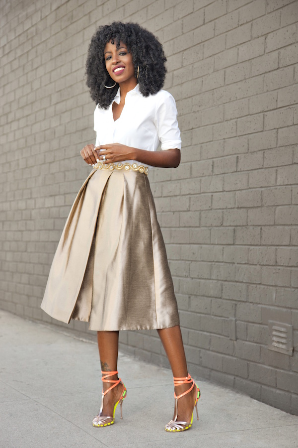 Style Pantry | Classic Button-Up Shirt   Gold Pleated Midi Skirt