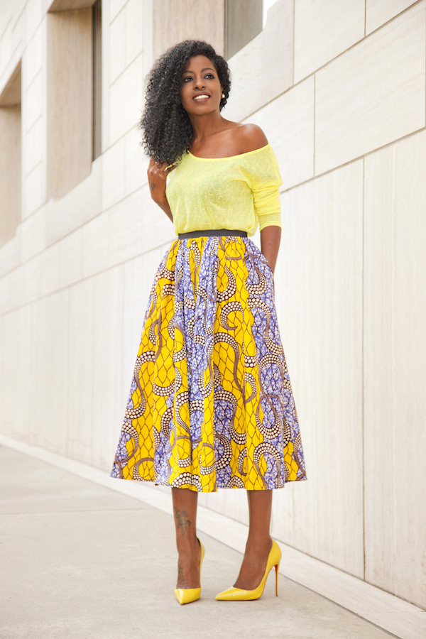 Style Pantry | Neon Yellow Blouse   Ankara Print Midi Skirt