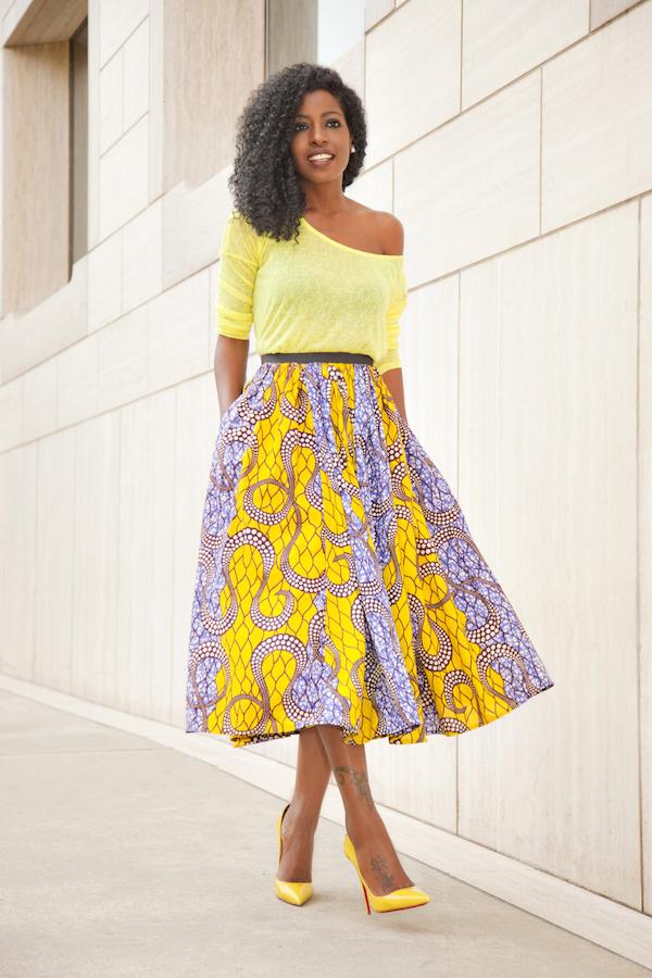 Style Pantry | Neon Yellow Blouse   Ankara Print Midi Skirt