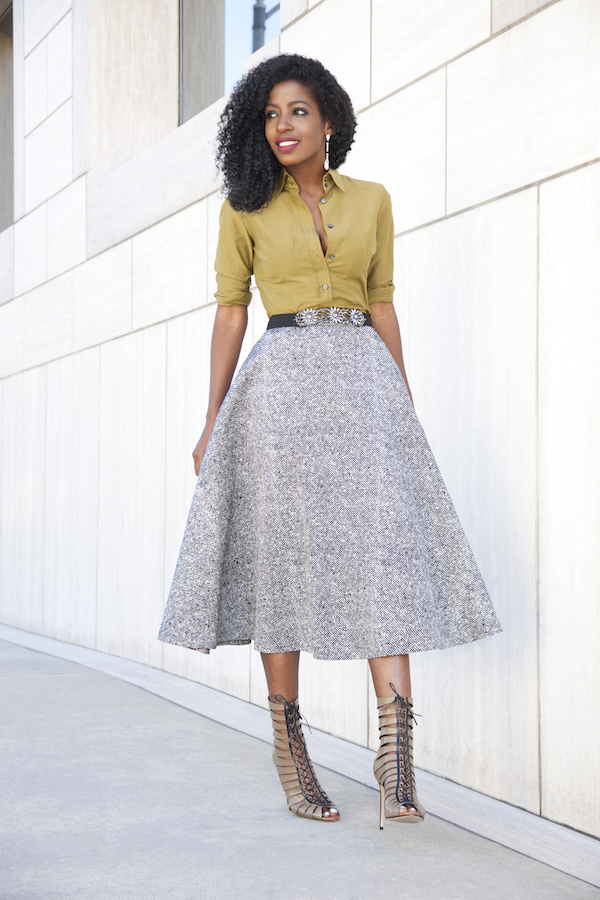 Style Pantry | Fitted Utility Shirt   Swing Midi Skirt