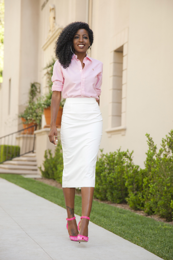Style Pantry | white pencil midi skirt