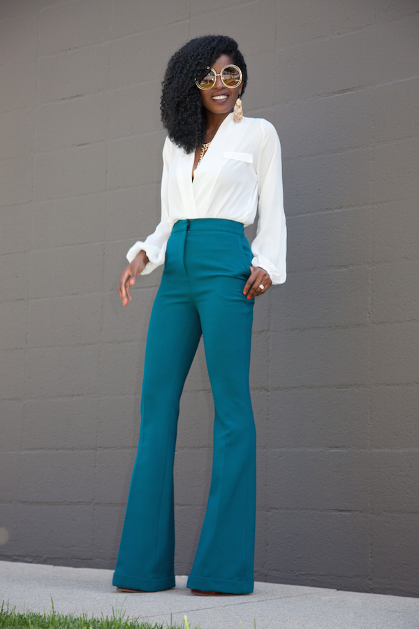 Long Sleeve Faux Wrap Blouse + Wide Leg Trousers