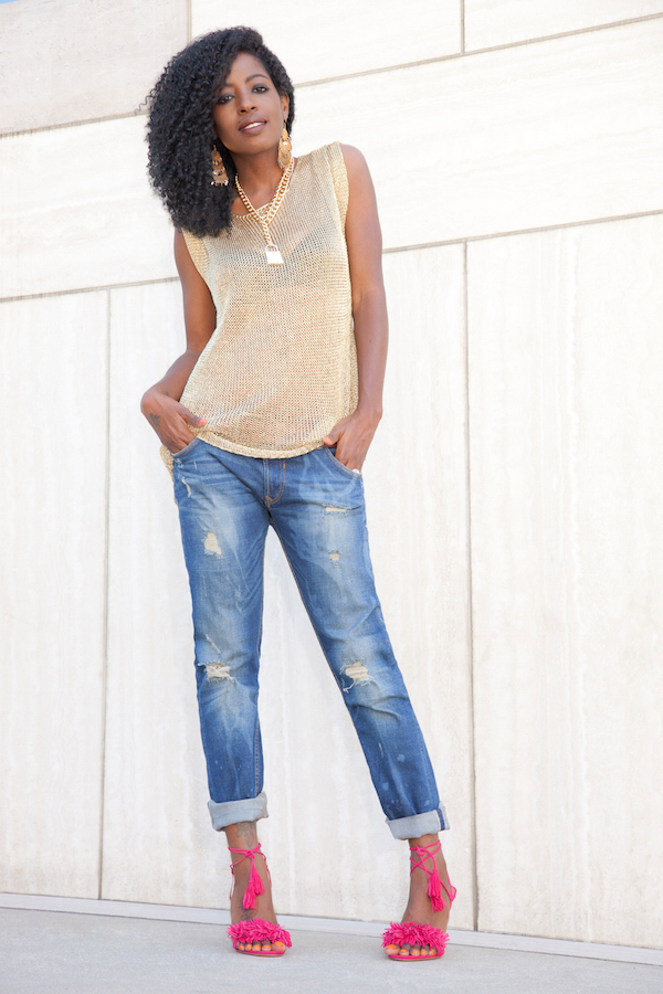 Gold Blouse + Distressed Boyfriend Jeans
