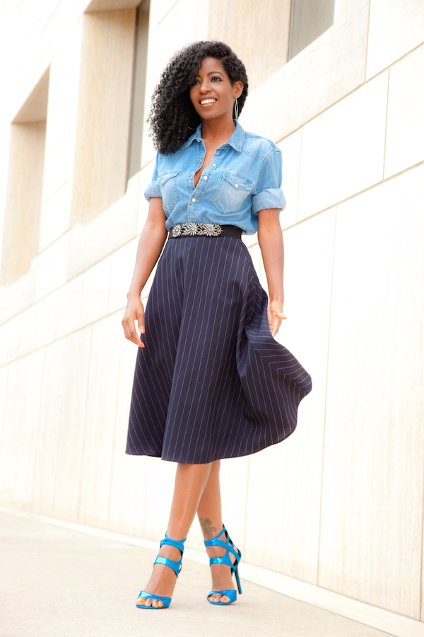 Boyfriend Denim Shirt + Pinstripe Midi Skirt
