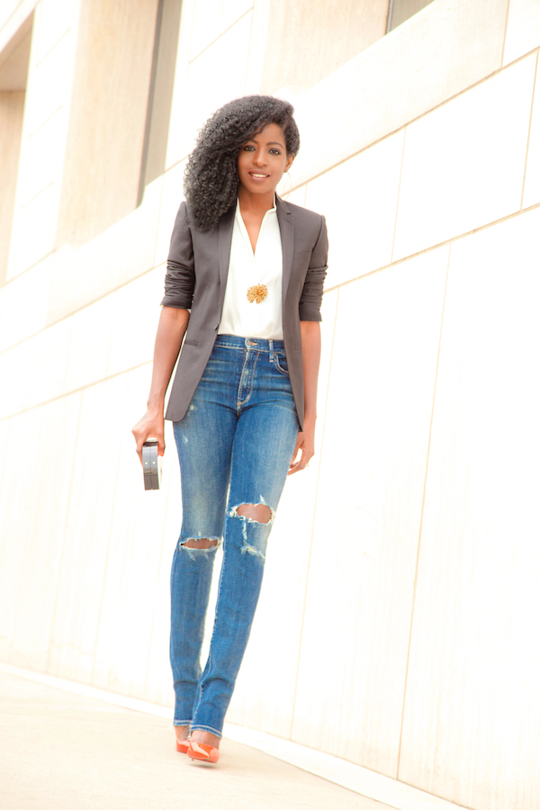 Blazer + Wrap Blouse + Ripped High Waist Jeans