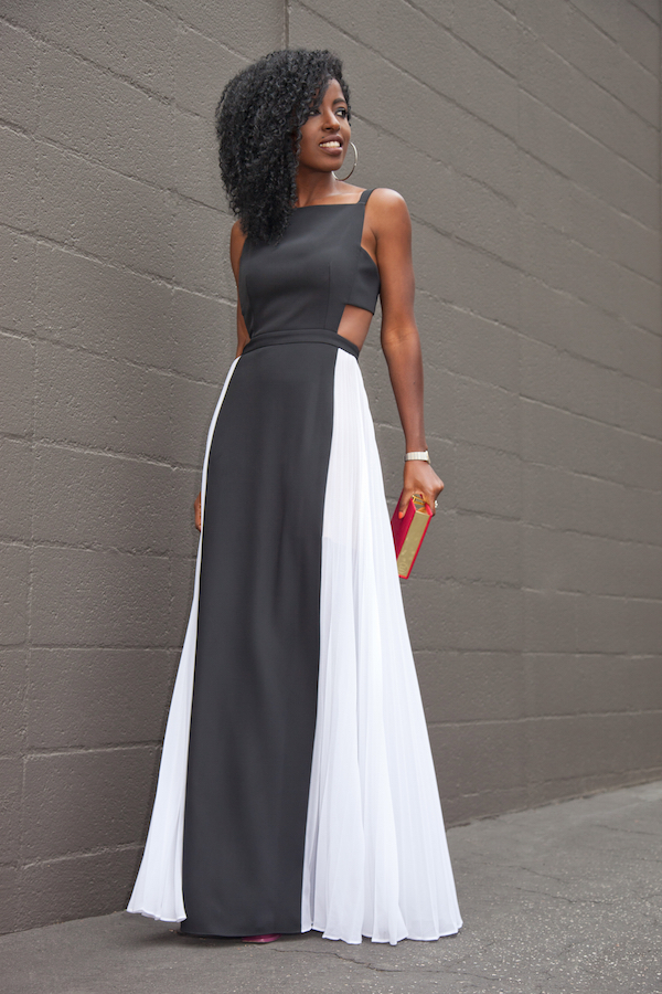 Cutout Pleated Maxi Dress