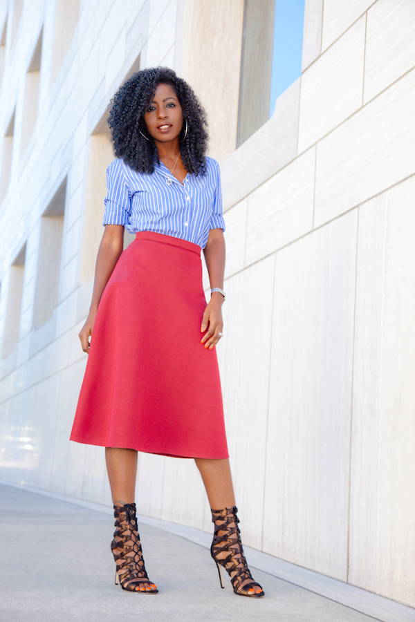 Striped Button-Down Shirt + Circle Midi Skirt