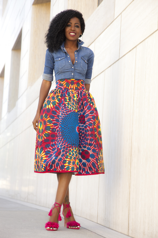 Style Pantry | Fitted Denim Shirt   Printed Midi Skirt