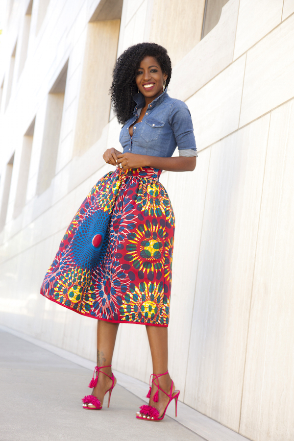 Style Pantry | Fitted Denim Shirt + Printed Midi Skirt