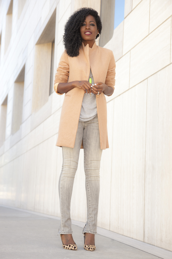 Blazer Coat + Cowl Neck Top + Zippered Jeans