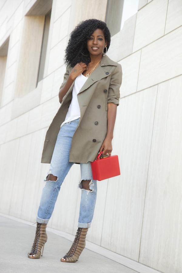 Edun Trench + Tank + Distressed Boyfriend Jeans