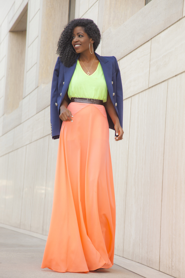 Navy Blazer + Neon Tank + Orange Maxi Skirt
