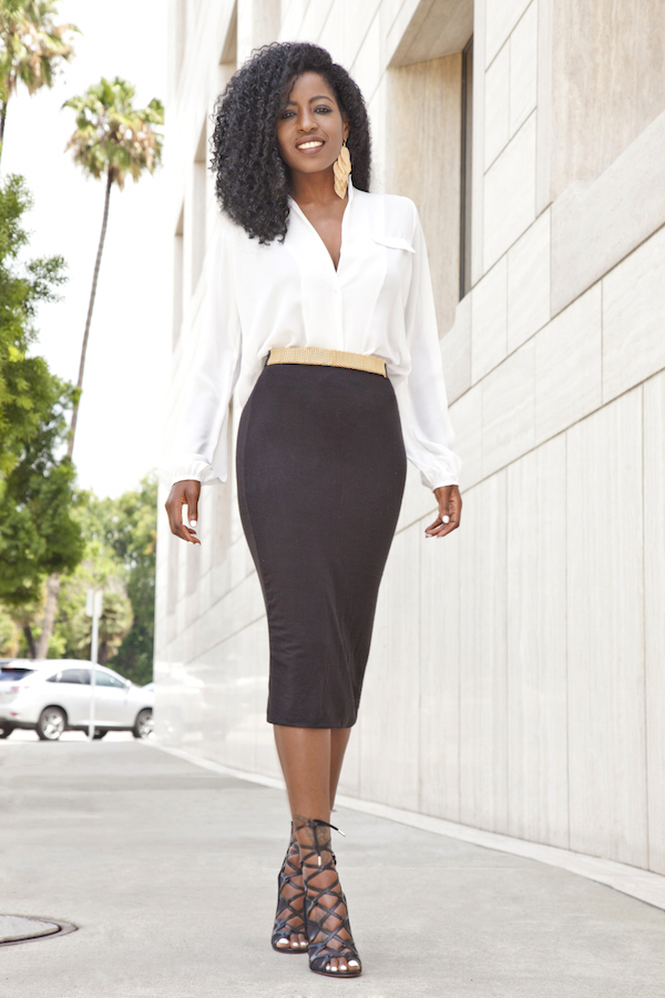 Style Pantry | Long Sleeve Blouse   Midi Pencil Skirt