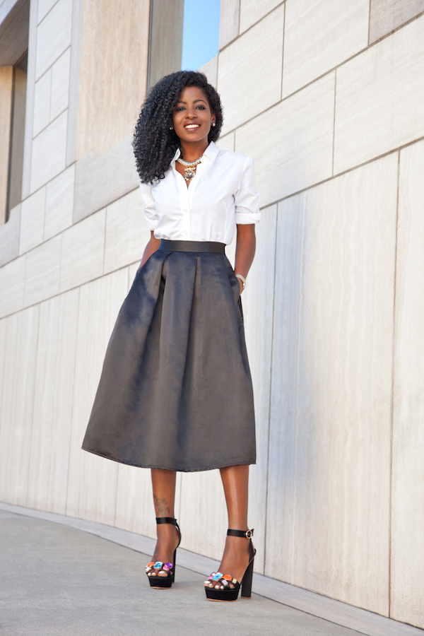 Crisp White Shirt + Black Box Pleat Midi