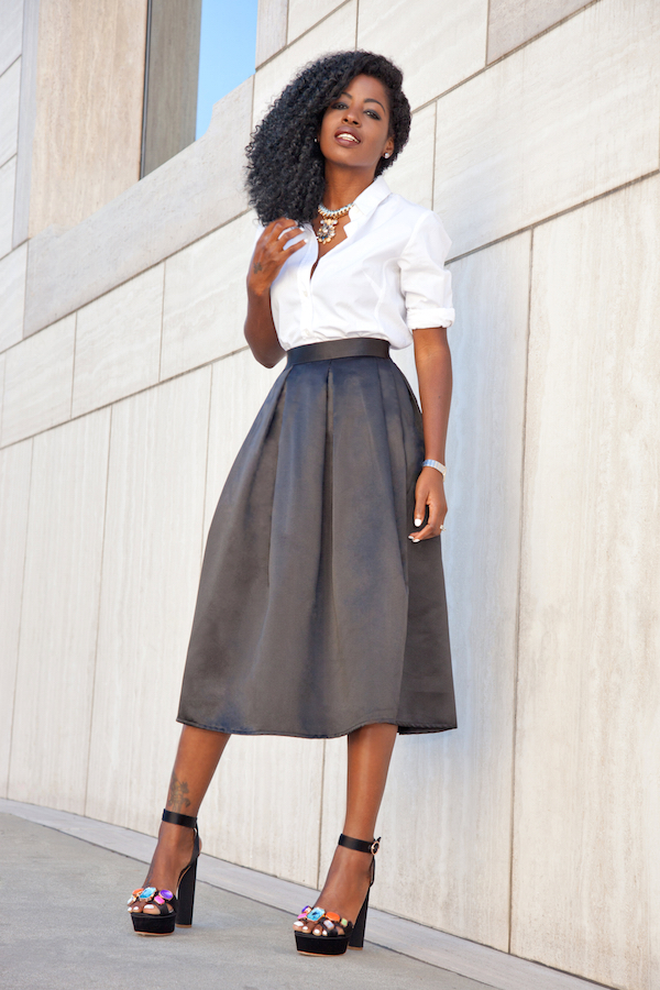 Style Pantry | Crisp White Shirt   Black Box Pleat Midi