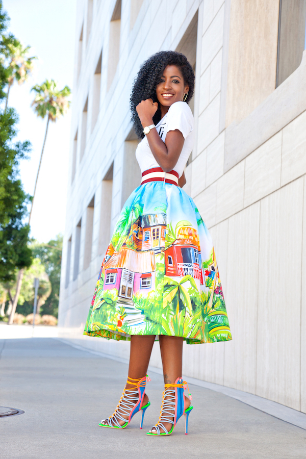 Style Pantry | V-Neck Tee   Village Print Midi Skirt