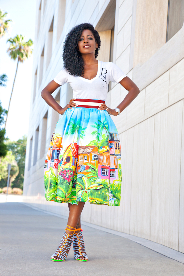 V-Neck Tee + Village Print Midi Skirt