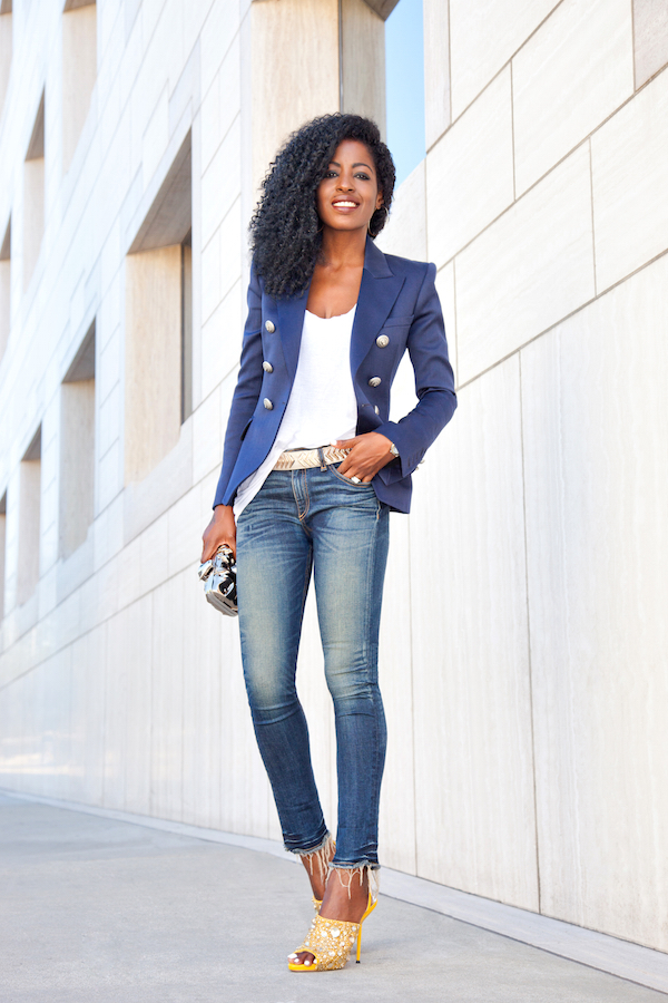 Double Breasted Blazer + Tank + Ankle Length Jeans