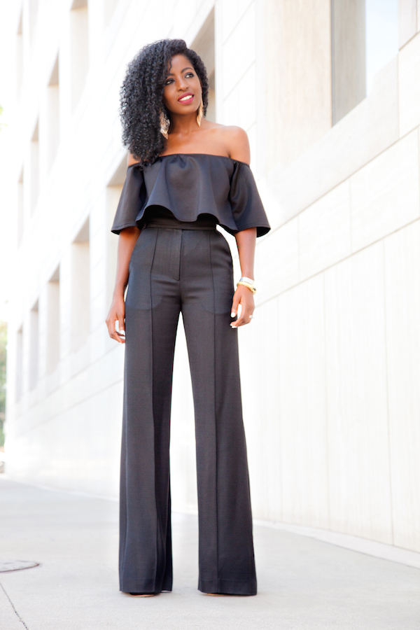 Style Pantry | Black Crop Swing Top   Pintuck Wide Leg Trousers