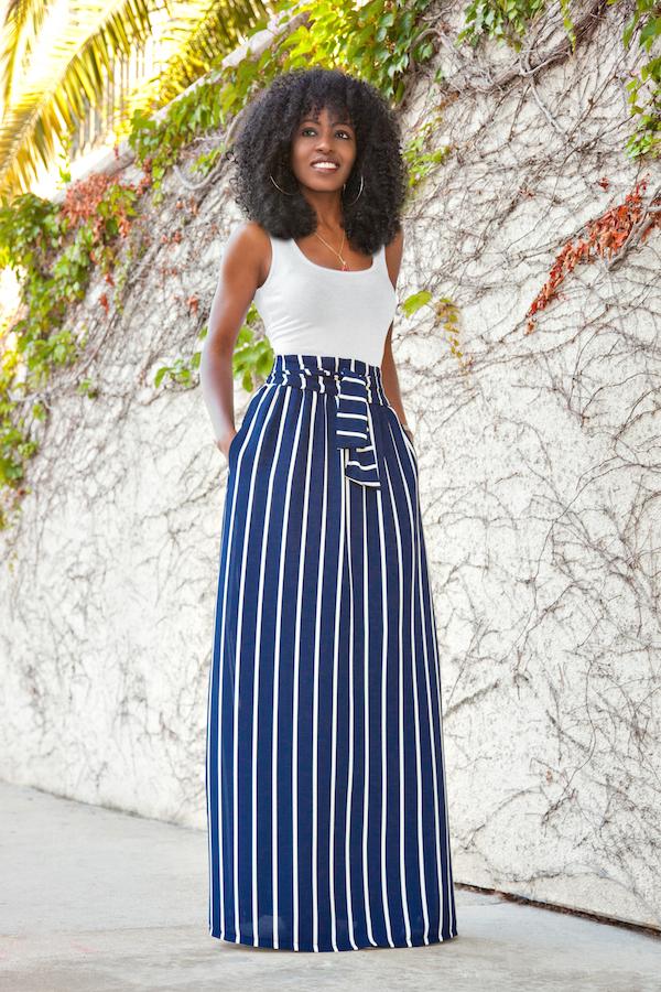 Vertical striped maxi skirt – Modern skirts blog for you