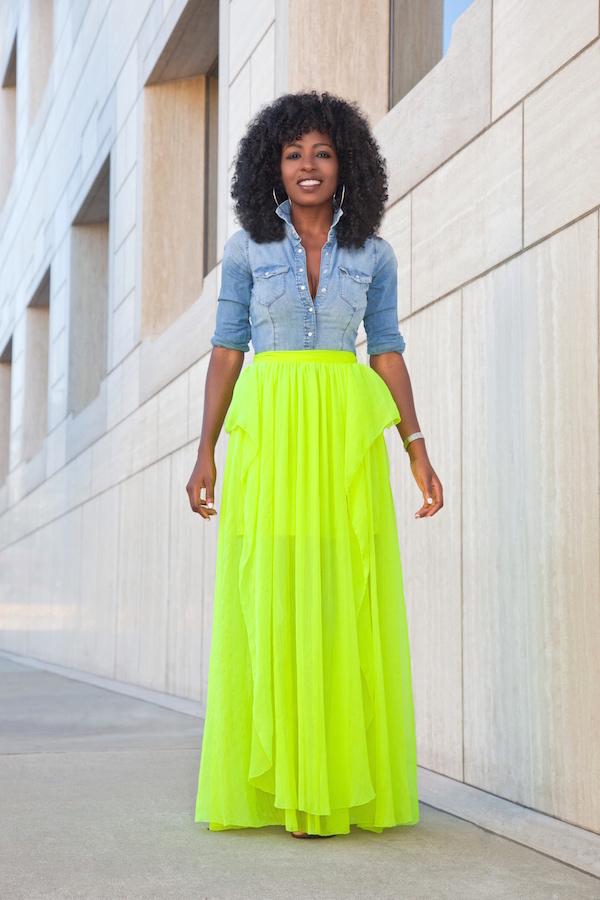 Style Pantry Denim Shirt Neon Maxi Skirt