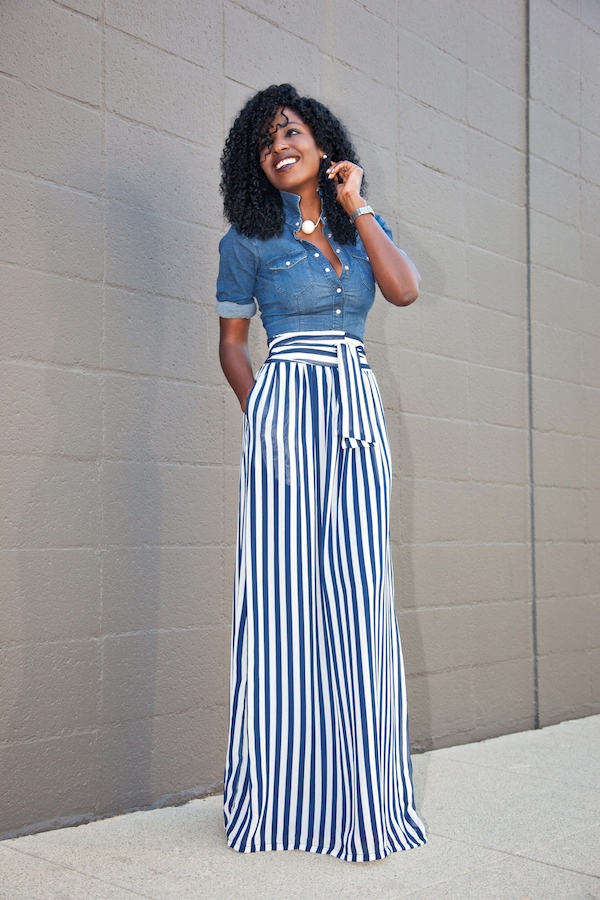 Style Pantry | Fitted Denim Shirt   Striped Maxi Skirt