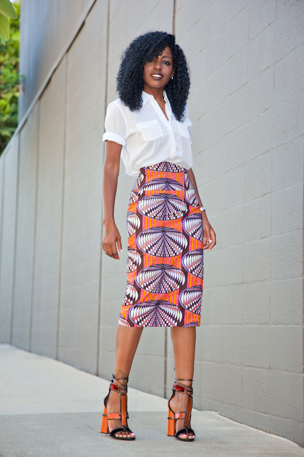 Style Pantry | Safari Style Shirt   Printed Pencil Skirt