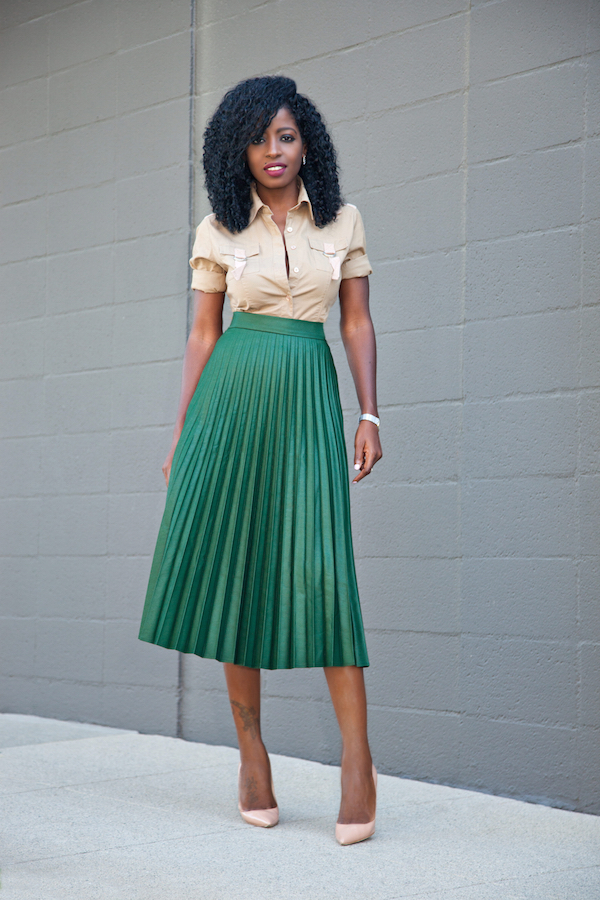 053dec862 Style Pantry | Military Style Shirt + Pleated Accordion Midi Skirt