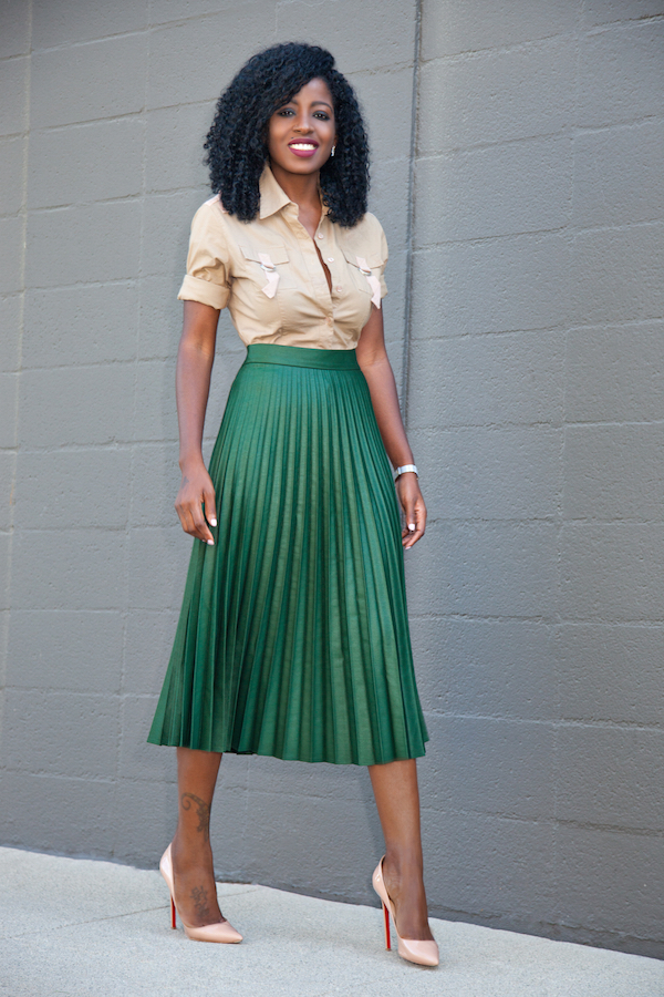 Style Pantry | Military Style Shirt   Pleated Accordion Midi Skirt