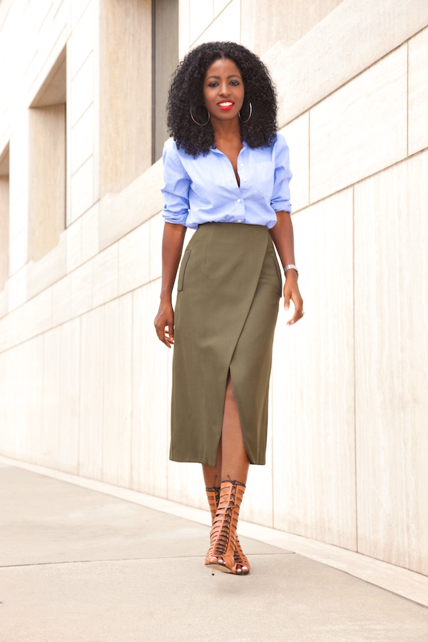 Style Pantry | Oxford Boyfriend Shirt   Faux Wrap Midi Skirt