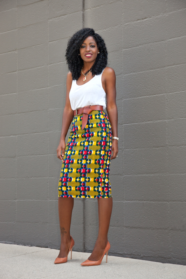 Style Pantry | Tank Top   Ankara Print Pencil Skirt
