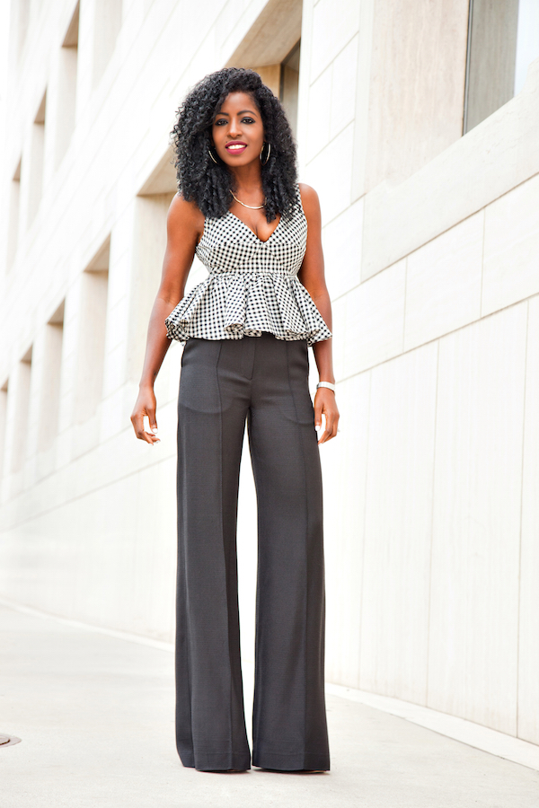Style Pantry Gingham Babydoll Peplum Wide Leg Trousers