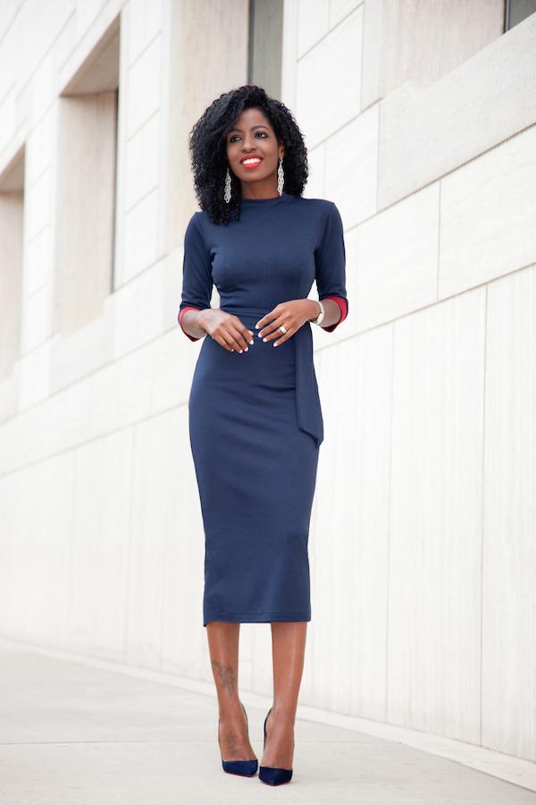 Style Pantry | Navy Contrast Sleeve Midi Dress   Grey Coat