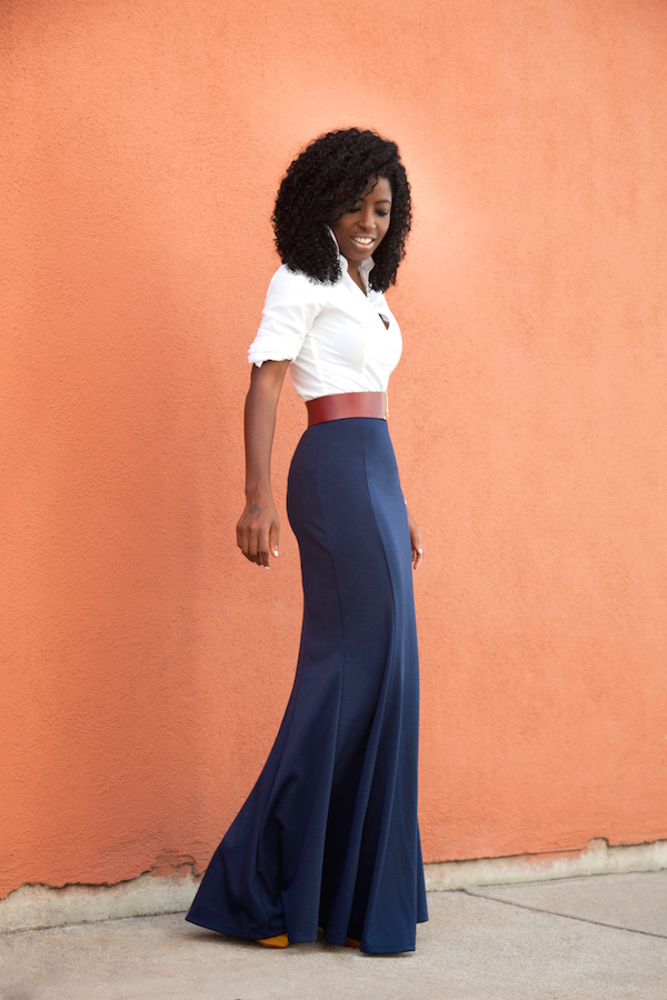 Style Pantry | White Button Down Shirt   High Waist Maxi Skirt