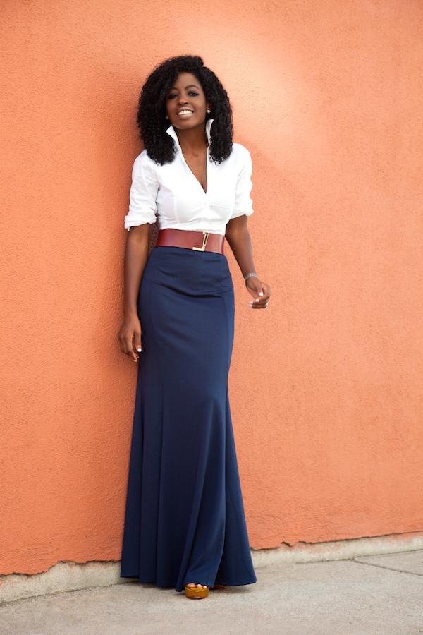 Style Pantry | White Button Down Shirt   High Waist Maxi Skirt