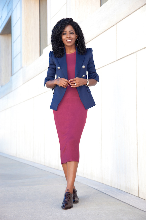 Double Breasted Blazer + T-Shirt Midi Dress