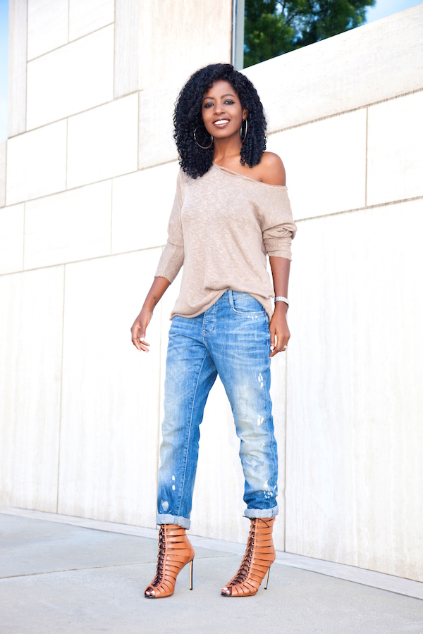 Style Pantry | Off Shoulder Knit Sweater   Distressed Boyfriend Jeans