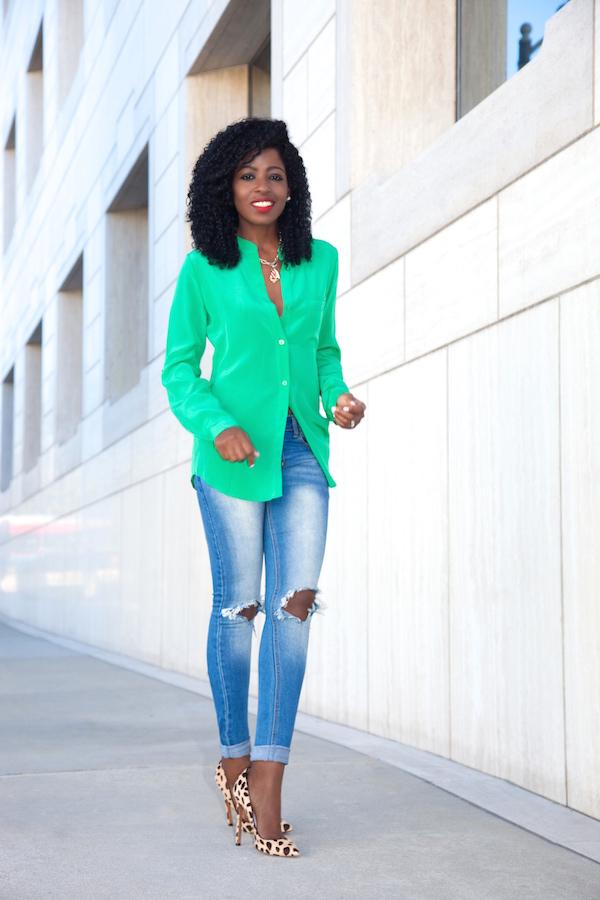 030f3b0e9d2e0 DVF Silk Blouse + Distressed Jeans