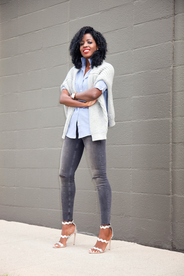 Chunky Knit + Boyfriend Shirt + Ripped Ankle Jeans
