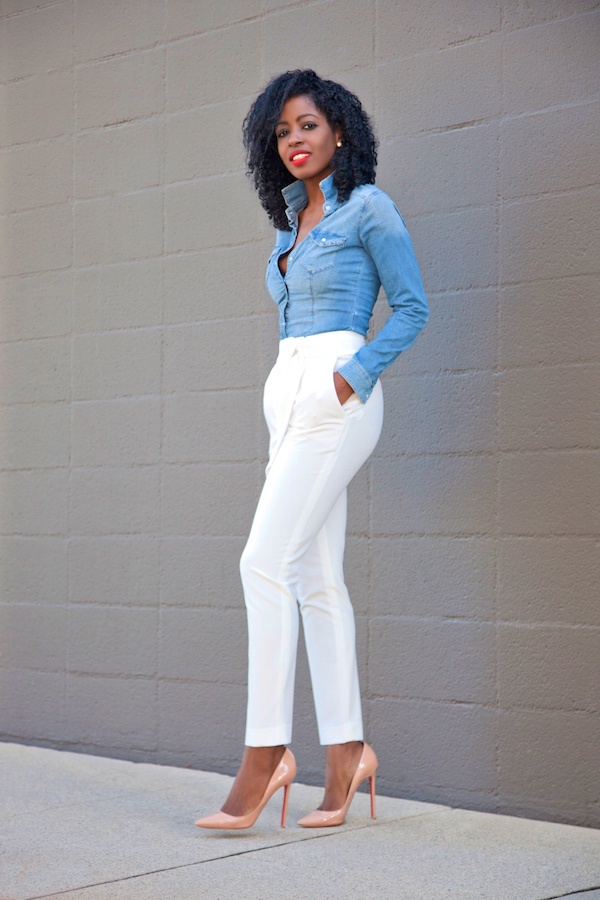 denim shirt white pants - Pi Pants