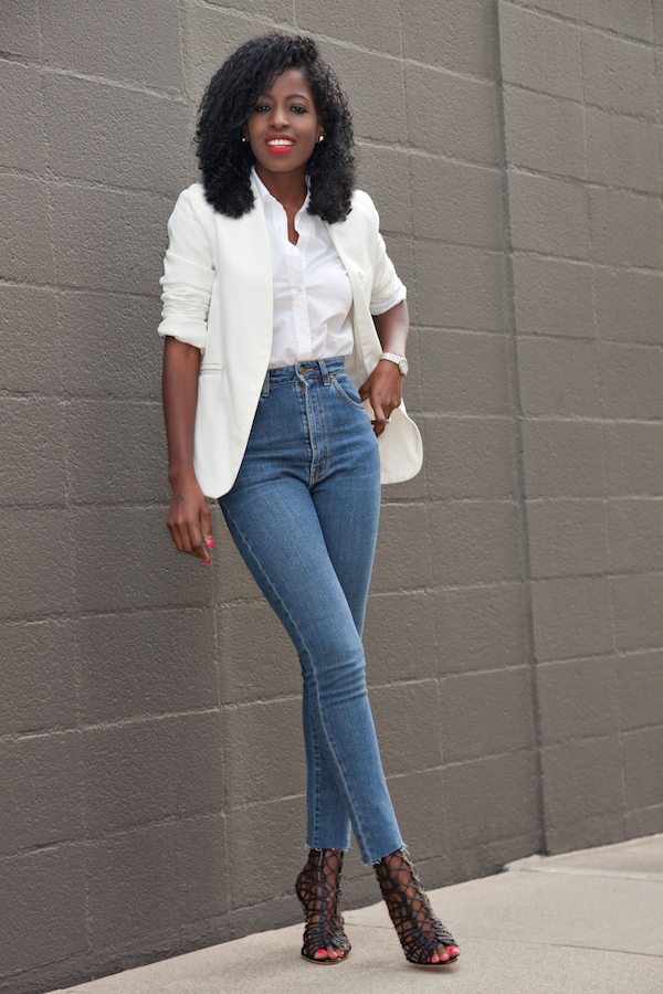 Style Pantry | White Blazer + White Boyfriend Button Down + High Waist Jeans
