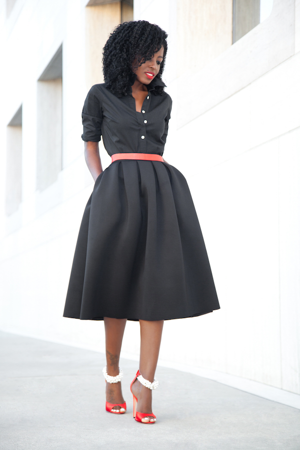 Style Pantry | Button Down Shirt   Full Pleated Midi Skirt