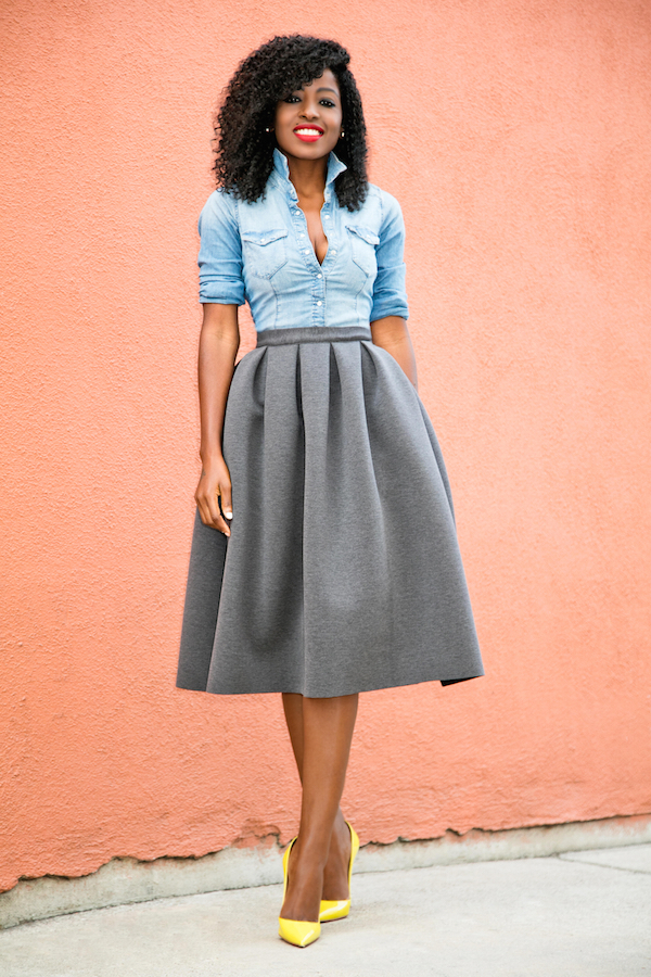 Style Pantry | Fitted Denim Shirt + Full Pleated Skirt