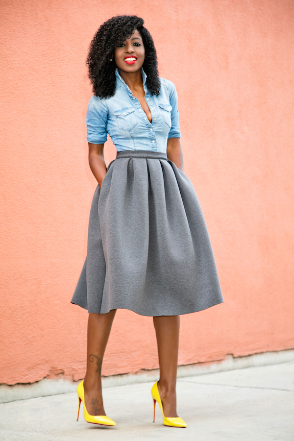 style pantry fitted denim shirt full pleated skirt