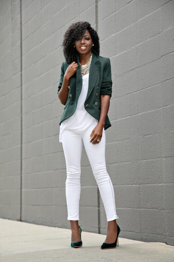 Double Breasted Blazer + Tank + White Moto Jeans