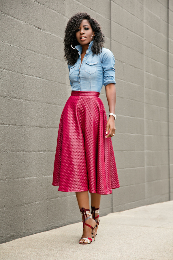 style pantry fitted denim shirt swing midi skirt