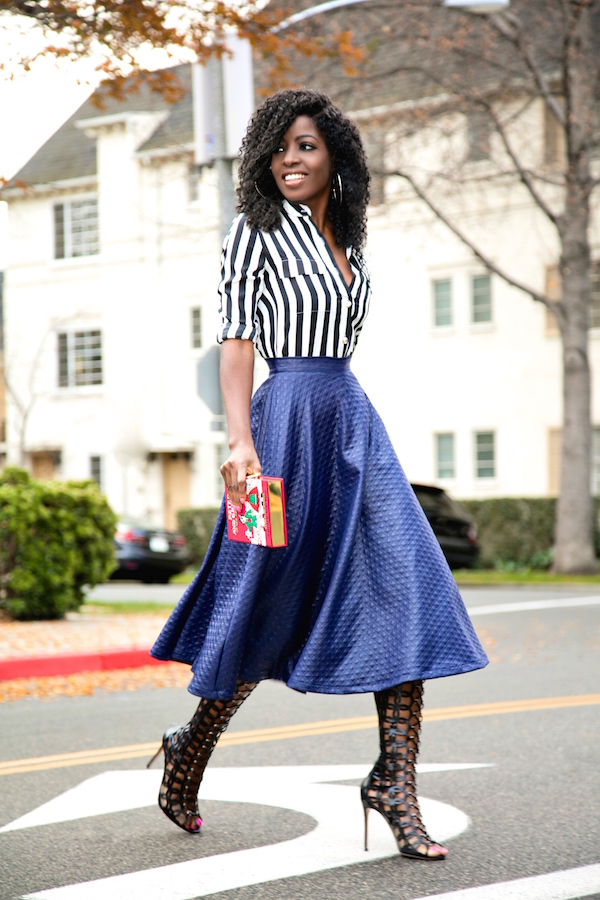 Striped Shirt + Quilted Swing Midi Skirt