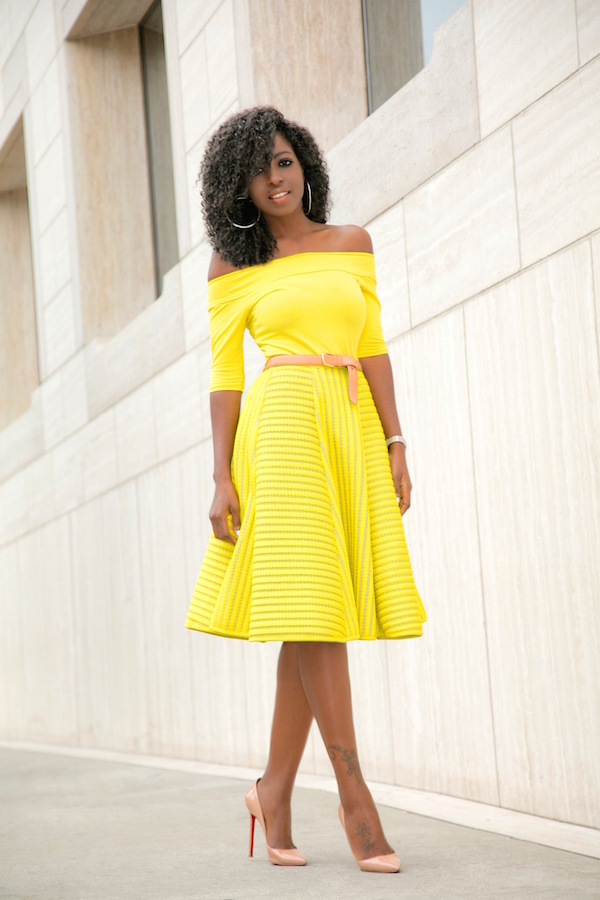 Style Pantry | Off Shoulder Blouse + Yellow Striped Skirt