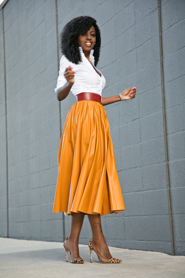Style Pantry | Button Down Shirt   Faux Leather Pleated Midi Skirt